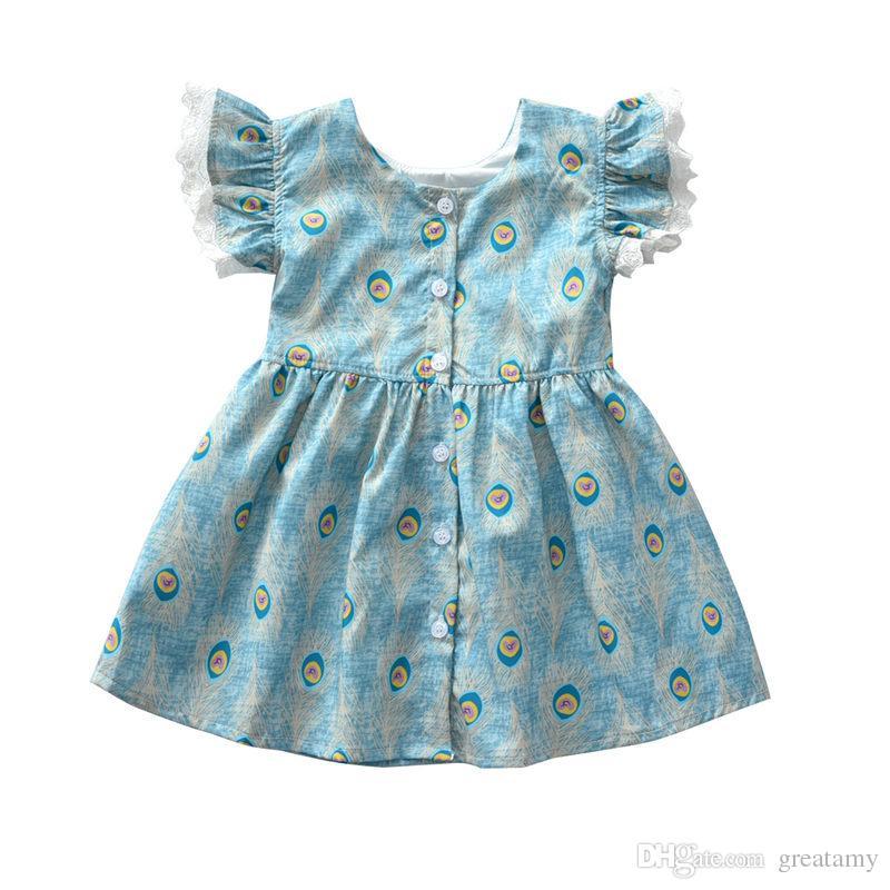Girls flying short sleeves dress baby girl peacock hair printed princess skirt 2018 new style kids summer dresses clothes