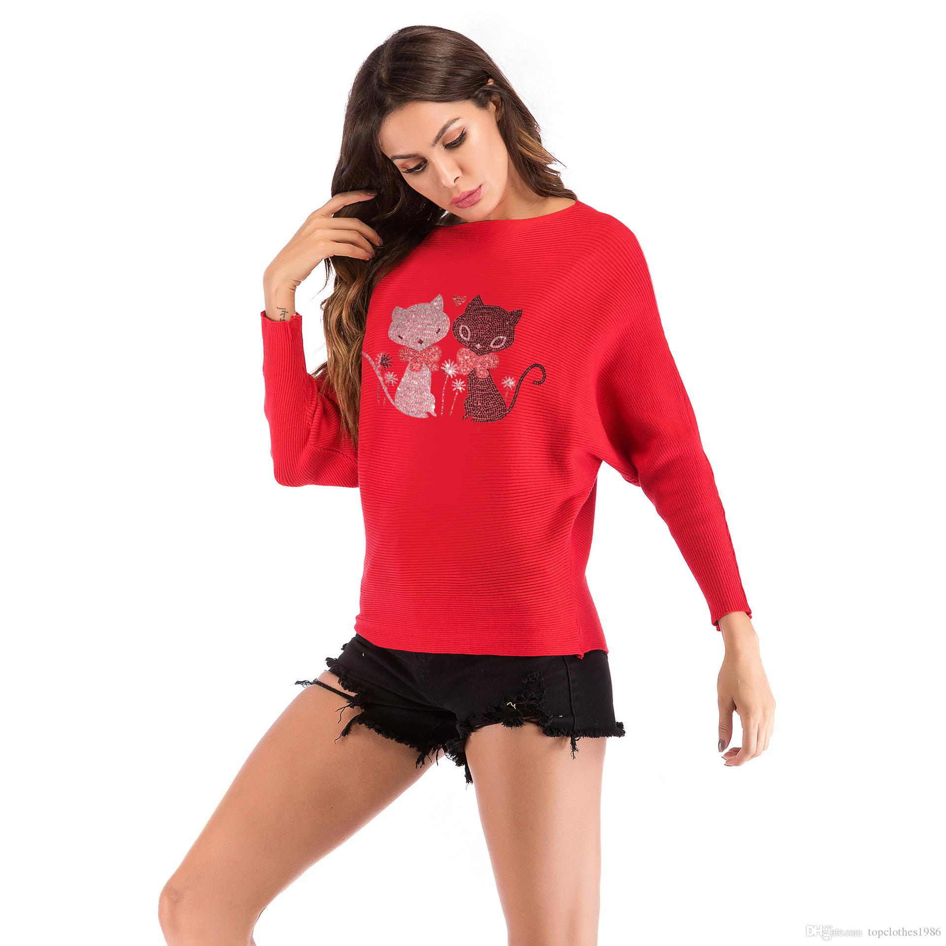 7a90407cd41 2019 Autumn New Year Clothes Bat Sleeve Women S Knitwear Christmas Fashion  Cartoon Cat Loose Pullover Knitted Sweater Red Pink White M L XL From ...