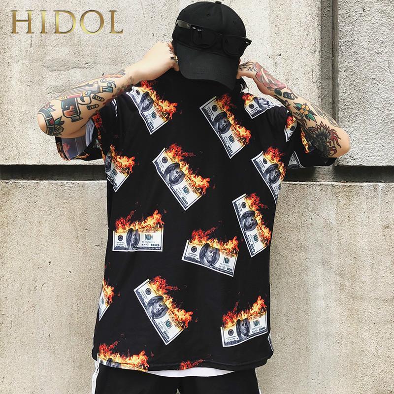 Compre Camiseta Extragrande Llama De Fuego American Dollar US Money Print Camiseta  Hip Hop Streetwear Short Tshirt Hombre Ropa De Marca Swag Tee A  27.9 Del  ... 257f5287e04