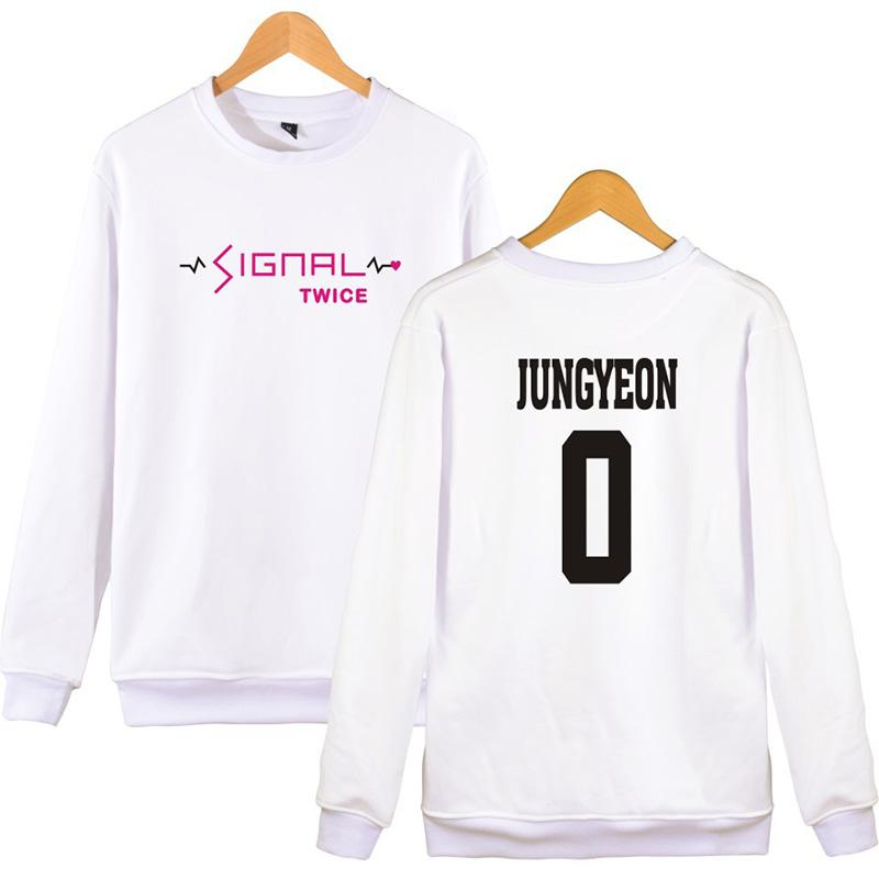 2018 New Fashion Twice Album SIGNAL Hoodies Sweatshirts for Girl  Long-sleeved Pullovers Hooded Cotton Tracksuit Women Tops 4XL