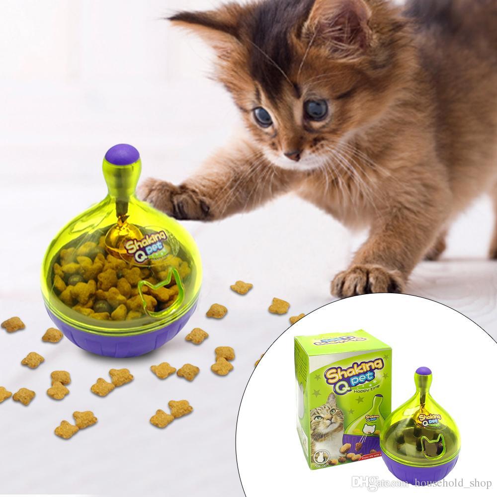 Pet Escapando Alimentos Brinquedos Tumbler Enigma Cat Alimentadores De Bola de Plástico Automático Gato Com Pequeno Sino de Alta Qualidade
