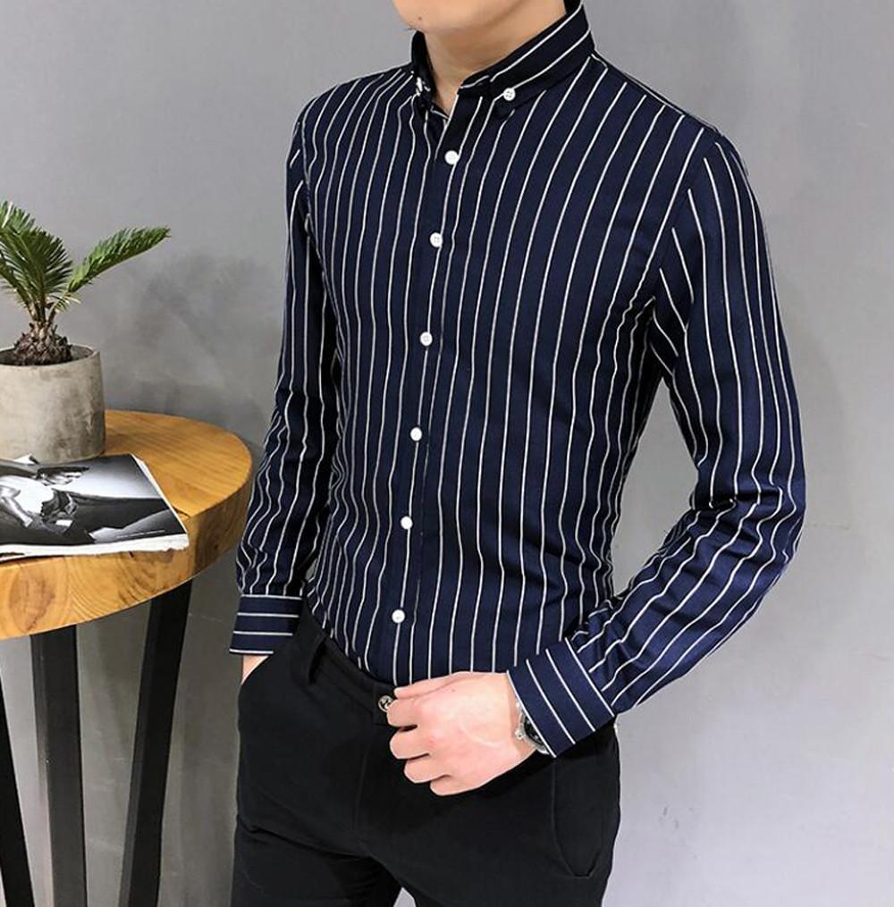 Compre Masculino Camisa Social Plus Size Botão De Manga Longa Listrado Para  Baixo Camisas De Vestido Para Os Homens Do Sexo Masculino De Negócios  Sociais ... 4536a2cccb1