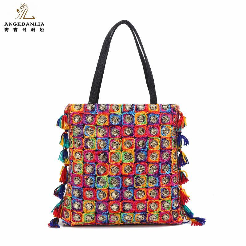4345fca73e2 Embroidered Bohemian Women Ethnic Colorful Bottom Handbag Boho Gypsy  Jewellery Ethnic Bag Shoulder Bag Crossbody Tassel Bags Name Brand Purses  Overnight ...