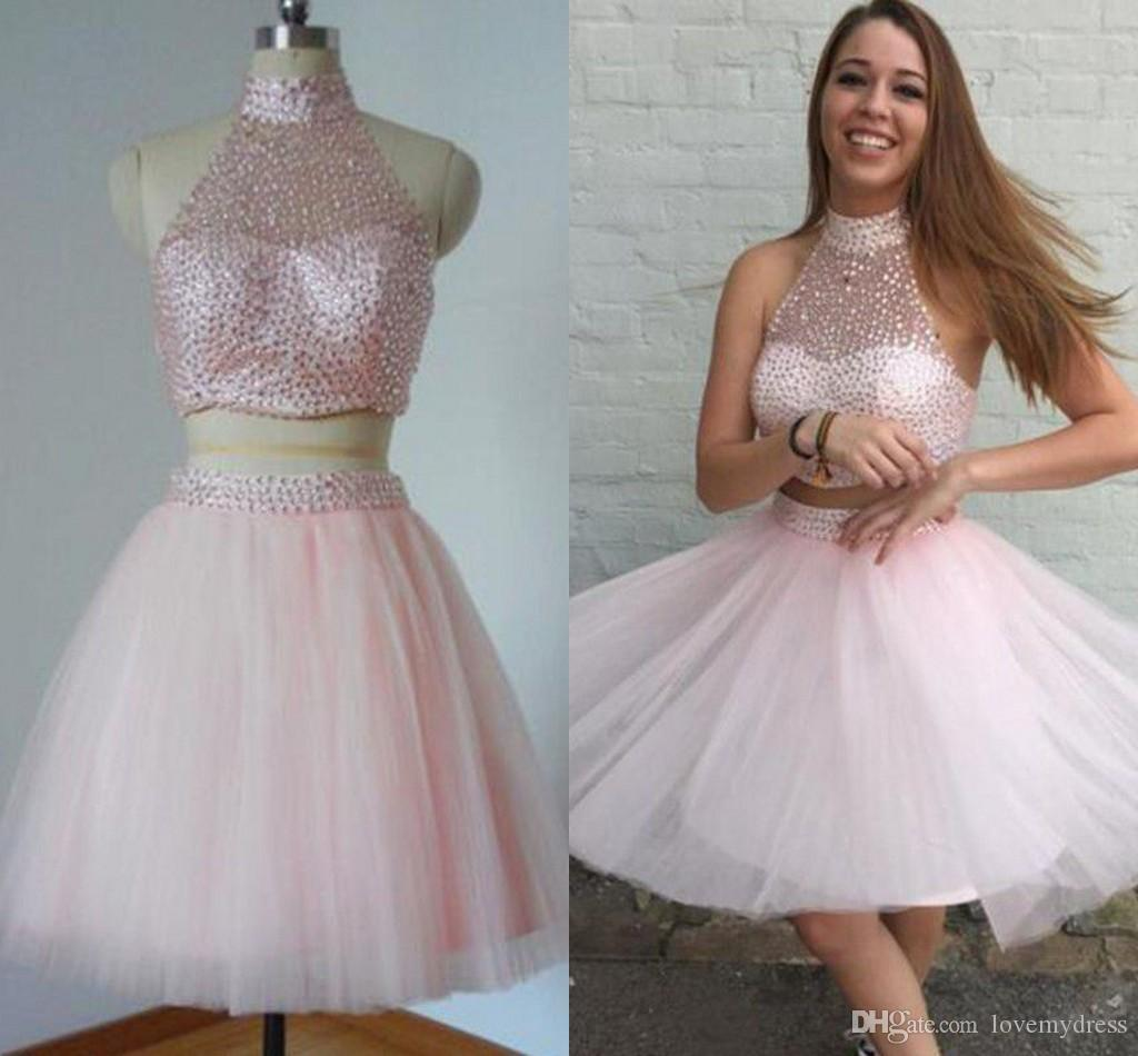 c6e936e68a51 Blush Short Party Prom Dress High Neck Two Pieces A Line Tulle Beading  Pleated Mini Homecoming Cocktail Dress Gowns For Young Girls Sexy Women  Dresses ...