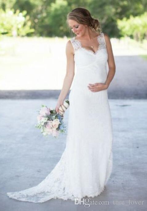 New Elegant Dentelle Robes De Mariée De Maternité Pas Cher Romantique V Cou Empire Taille Robes De Mariée 2018 nouvelles Femmes Enceintes Plus La Taille Robes De Mariée
