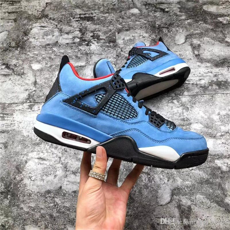 0925d7610685 2018 Newest Release Travis 4 Houston 4S Cactus Jack IV Blue Basketball  Shoes Limited Sneakers Real Quality 308497 406 Sneakers Shoes Shoes For Men  From ...