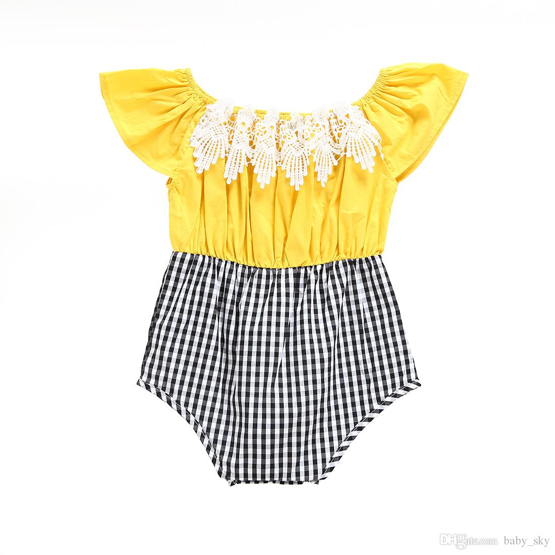 ad8098ed356d Online Cheap Baby Romper Summer Vintage Lace Plaid Patchwork Jumpsuit For Girls  Toddler Clothing Kids Fashion Children Clothes By Baby sky