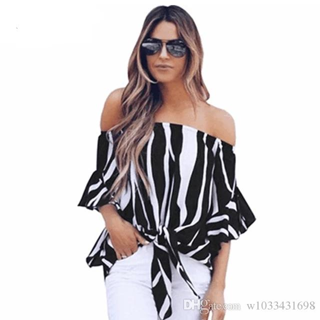 d5709d28376a1 Women Clothing Fashion Streetwear Ladies Sexy Off the Shoulder korean style  female casual loose blouse Striped Tops 2018