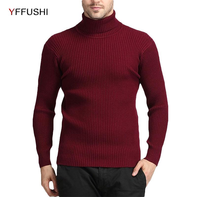 comprare on line a3a59 78fff Yffushi inverno collo alto maglione di lana caldo uomo collo alto maglia  maglioni uomo slim fit pullover uomo lana maglieria
