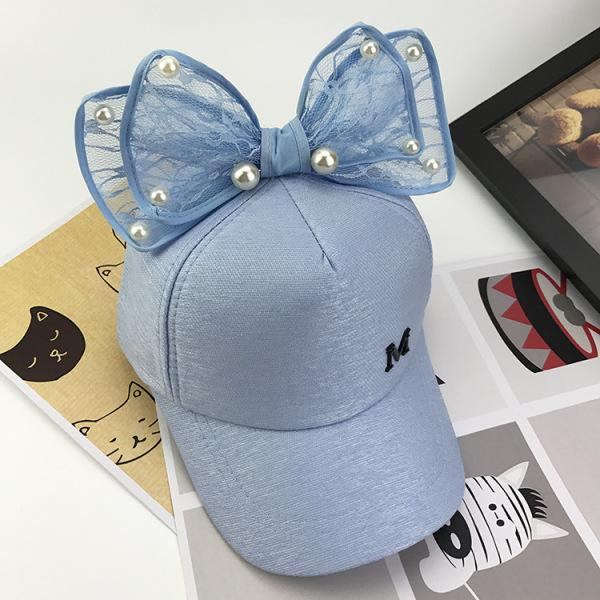Wholesale Summer Chic Baby Unisex Cute Lace Bowknot Bead Baseball Cap Sports Sun Hat for Kids Boy Girls Travel Accessories KC94
