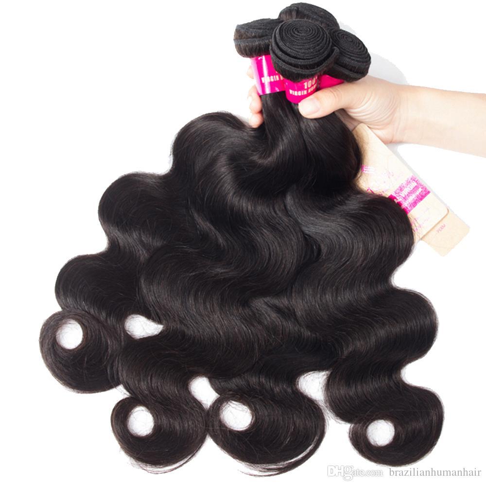 8A جسم موجة مستقيم فضفاض موجة غريب مجعد موجة عميقة الإنسان 3 الشعر حزم مع 4X13 الرباط إغلاق 100٪ غير المجهزة البرازيلي بيرو الشعر