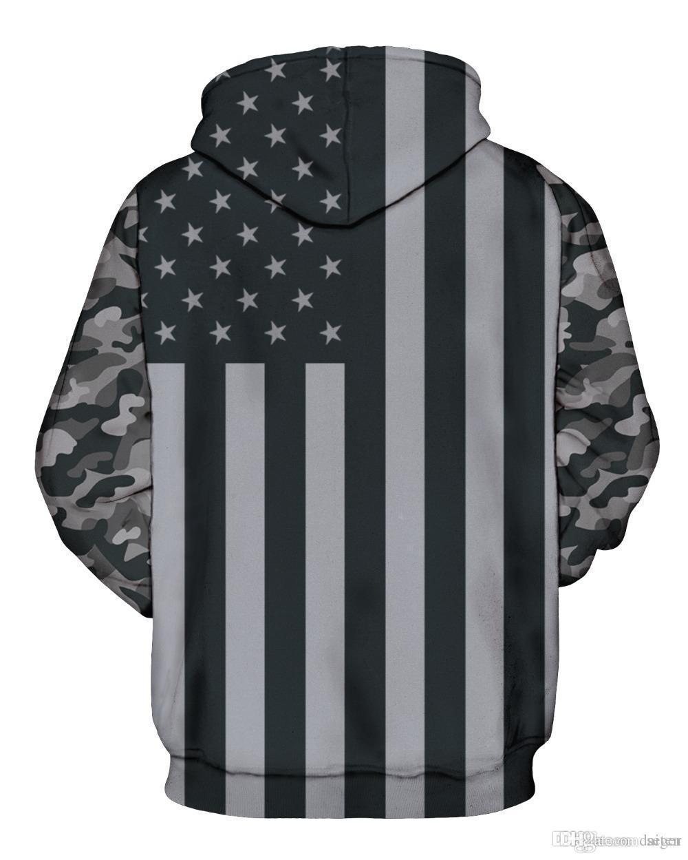 Compre Al Por Mayor Men Brand Clothing3d Bandera Americana Grises Hombres  Sudaderas Con Capucha Moda Hip Hop Vintage Pintura Sudadera Unisex Jerseys  Más El ... 92f493f8fe6