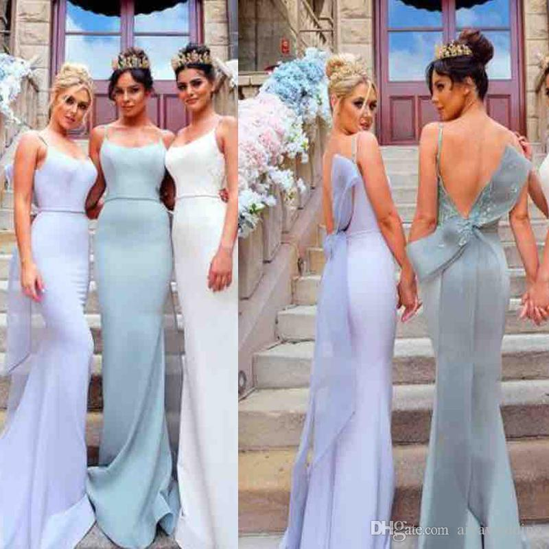 32e39447f91 Sexy Backless Prom Dresses Mermaid Long Lace And Sash Bow Simple Bridesmaid  Evening Party Gowns Cheap 2019 2020 Vestidos De Festa New Affordable Prom  Dress ...