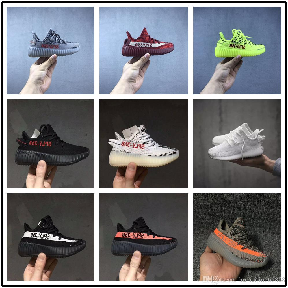 super popular 94f5c dc188 Acquista Adidas Yeezy Supreme 350 Scarpe Sportive Bambini Kids Boost Kanye  West SPLY 350 V2 Sneakers Giovanili Running Shoes Nero Bianco Grigio 9  Stile A ...