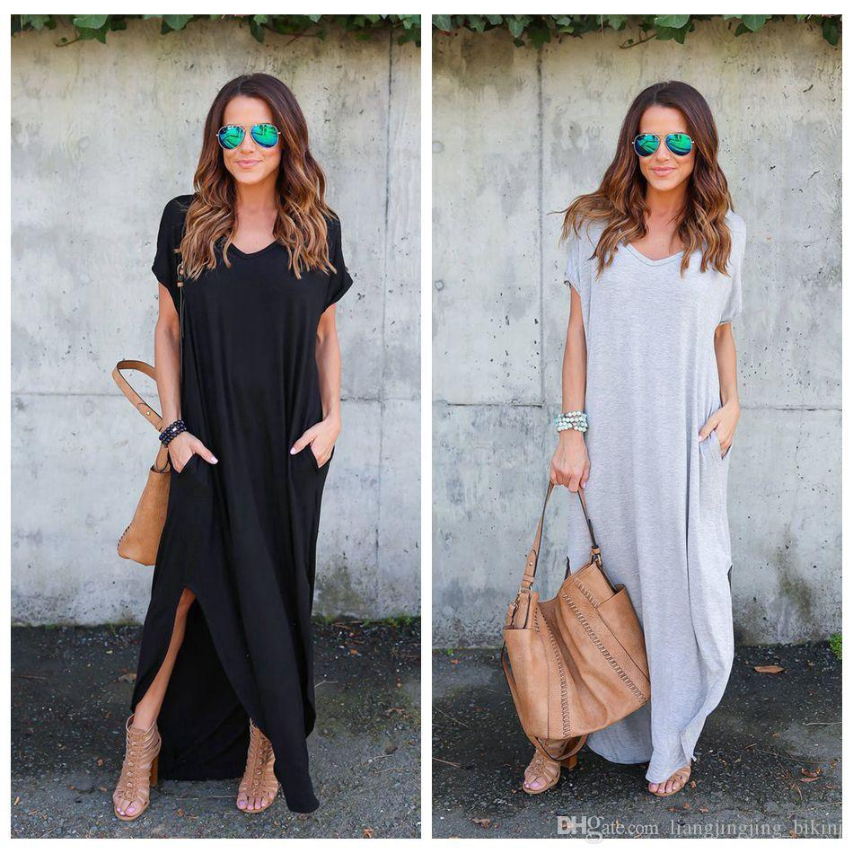 f5cdb2e80f4 Women Short Sleeve V Neck Casual Loose Kaftan Vestido Ladies Asymmetrical  Side Split Long Maxi Dress Solid Beach Sundress OOA4156 Sun Dresses Sale  Women ...