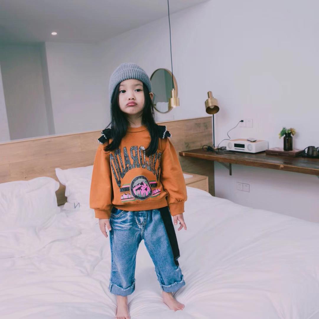 2018 children's clothing children's pants spring new children's jeans girls loose pants denim slacks