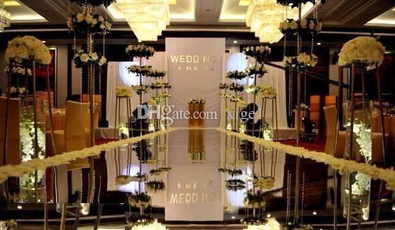 Top-Verkauf super helle 20M * 1.2M Double Face Silber Hochzeit Spiegel Teppich, Hochzeit Teppich Läufer, Hochzeit Gang Läufer