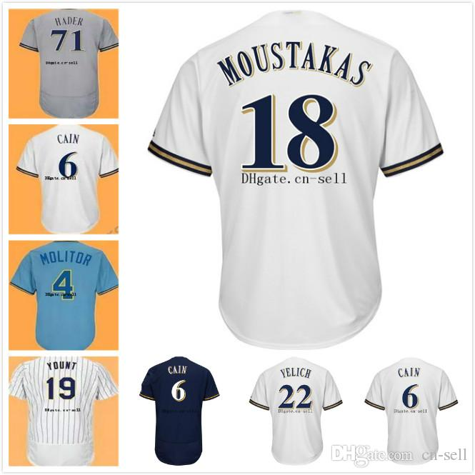 Best 2018 Postseason Lorenzo Cain Jersey Christian Yelich Josh Hader  Orlando Arcia Jonathan Villar Eric Thames Jerseys Milwaukee Men Women Youth  Under ... bb1703413