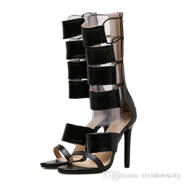 69229adf Compre Sandalias De Gladiador Negro De Cuero De PU Sexy Mediados De Becerro  De Tacones Altos Botas De Verano De Las Mujeres Zapatos De Diseño Tamaño 35  A 40 ...