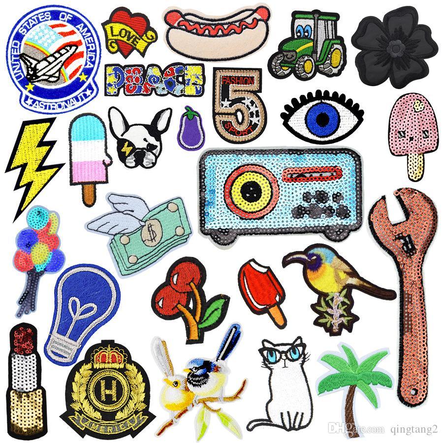 모든 종류의 자수 스티커에 봉합을위한 의류 아이언 패치에 대한 의류 아이언에 대한 무작위 패치 송료 무료