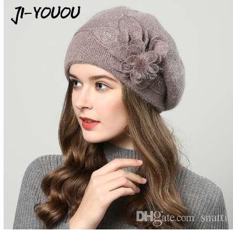 Compre Sombreros De Invierno Para Mujer Sombrero Boinas Con Pasamontañas  Gorra Para Mujer Gorros Sombreros De Piel De Conejo Para Gorritas Tejidas  Gorritas ... dd8fe603413