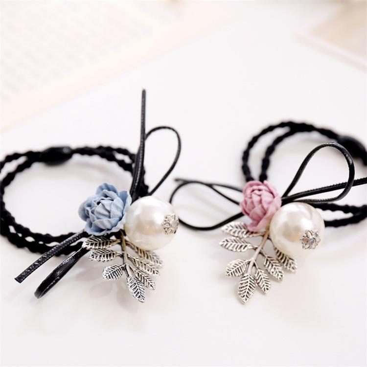 Korea Handmade Pearl Rubber Hair Band Hair Accessories Headwear Girls Headband For Women Hair Bows 5 Girl's Accessories Apparel Accessories