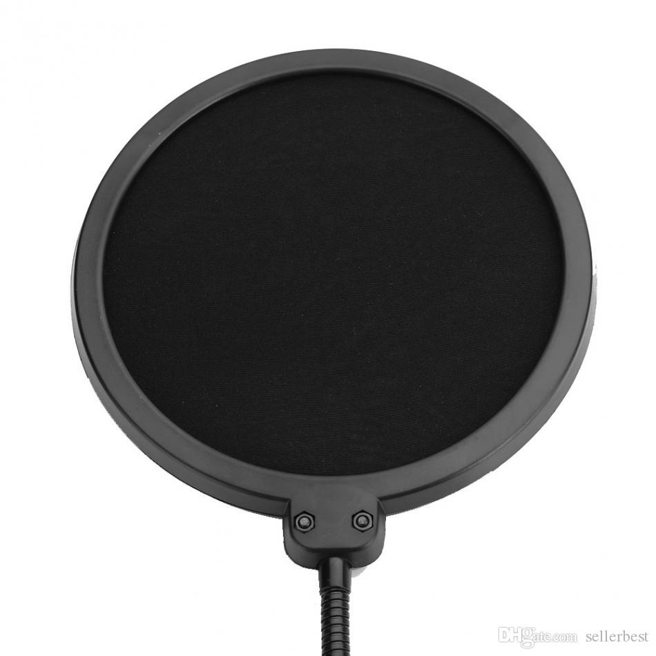 Studio Speaking Recording Microphone Mic Wind Screen Mask Gooseneck Shield Pop Filter Double Layer