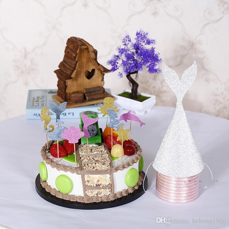 Golden Onion Powder Mermaid Tail Hat Multi Color Children Birthday Cap Wedding Ceremony Decor Headwear New Arrival 1 2dy Y