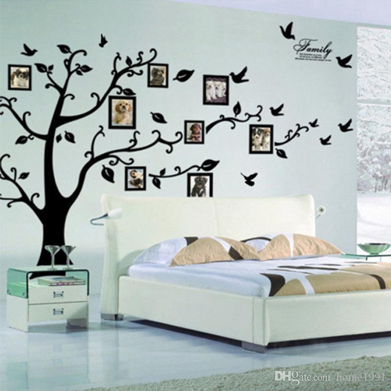 Große Größe Schwarz Familie Bilderrahmen Baum Wandaufkleber DIY Dekoration Wandtattoos Moderne Kunst Wandbilder Tapete für Wohnzimmer