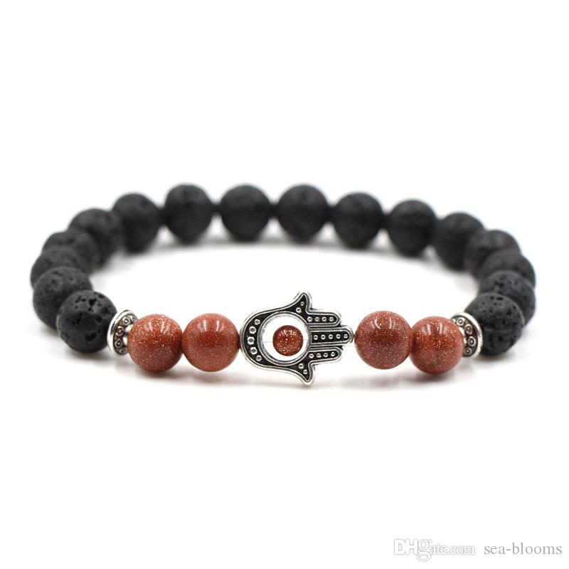 Healing Balance Natural Lava Stone Prayer Beads Bracelet For Reiki Prayer Yoga Volcanics Bracelet Stones Free DHL G804S