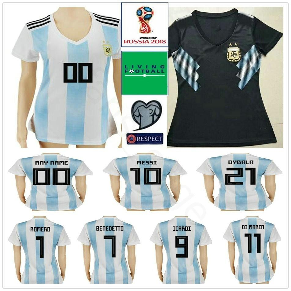 102b28100d4 2019 2018 World Cup Women Argentina Soccer Jersey 10 MESSI MARADONA 20 KUN  AGUERO 21 DYBALA 6 BIGLIA Custom White Black Ladies Football Shirt From  Fans_edge ...