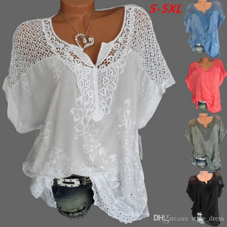 Women Lace T Shirt Embroidery V Neck Short Sleeve Summer Casual Plus Size Loose Tops