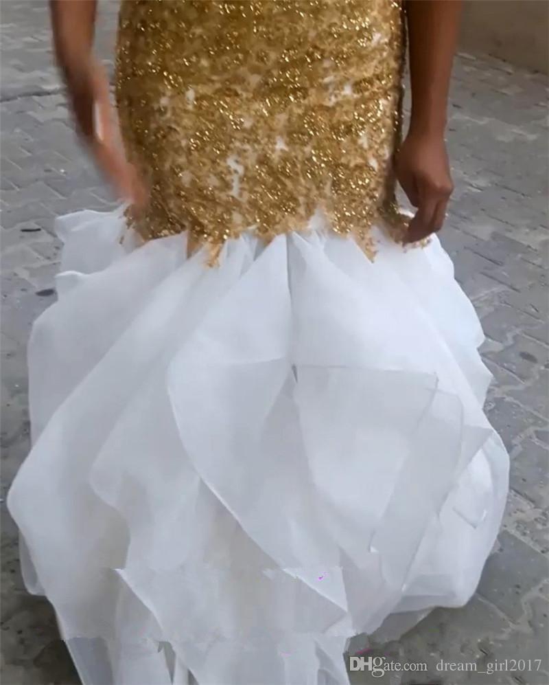 Vestidos de novia africanos de la sirena del tamaño extra grande sexy con apliques de encaje de oro 2018 Vestidos de novia árabe de cuentas de Bellanaija moldeados de la gasa de largo mangas