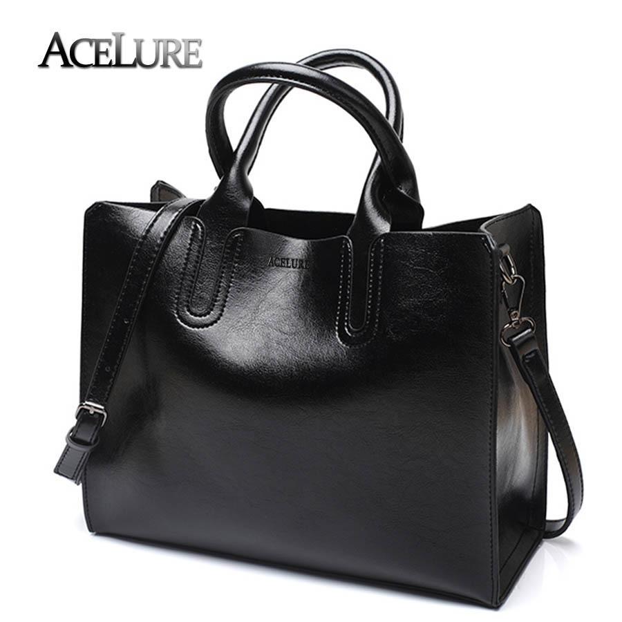 da898bdb57ea8 ACELURE Pu Ledertasche Einfache Handtaschen Berühmte Marken Frauen  Umhängetasche Großen Kofferraum Tote Vintage Öl Leder Damen Umhängetaschen  S921