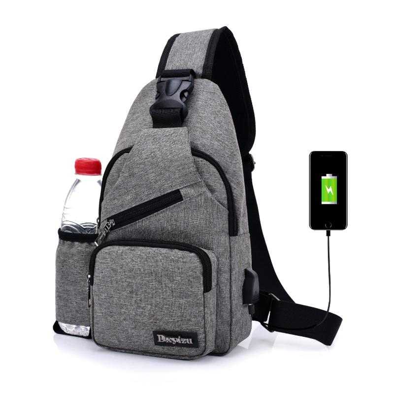 d260968d0289 USB Charge Interface New Men Chest Bag Canvas Sling Bag Shoulder Satchel  Large Crossbody Charing With Side Bottle Pocket Womens Purses Evening Bags  From ...