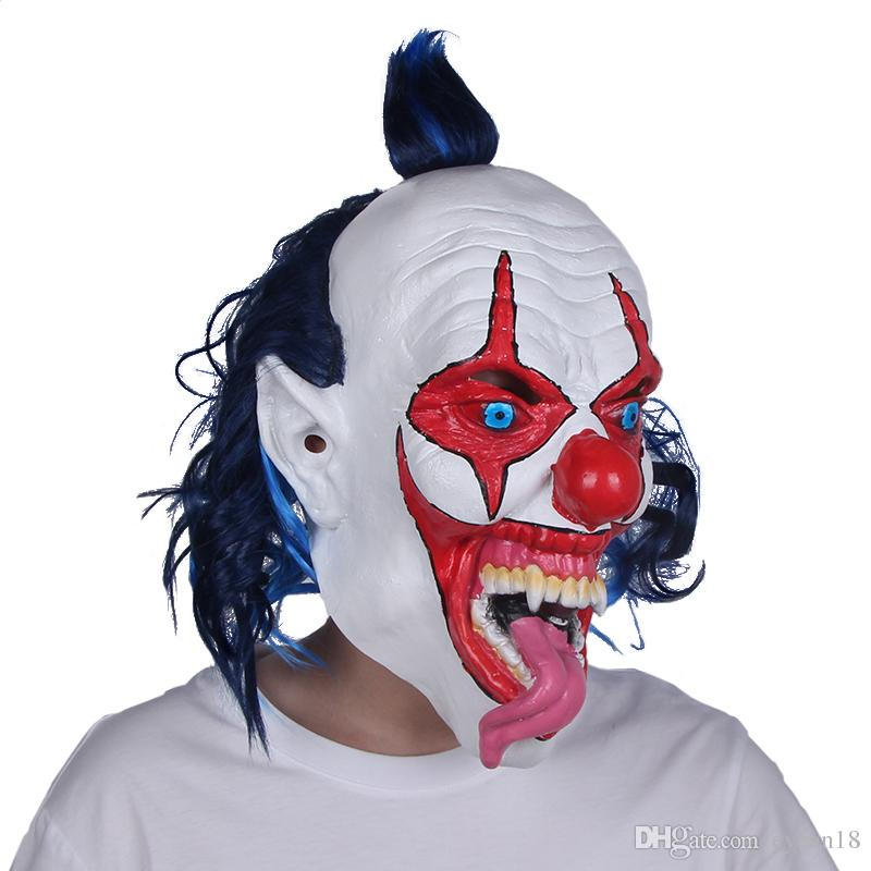 Scary Halloween Snake Tongue Evil Clown Freaky Mask One Size Horror Prop