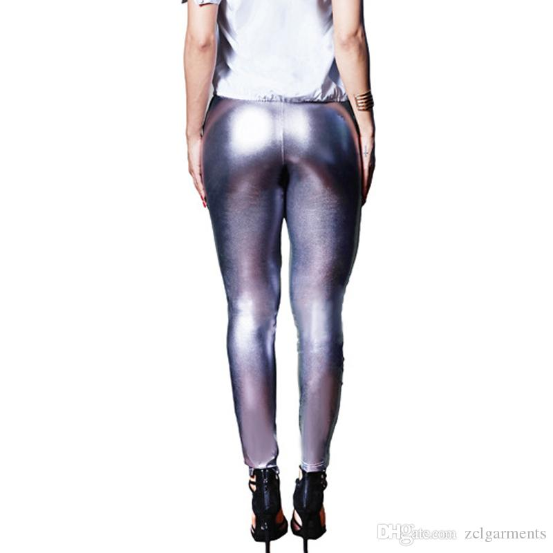 Summer Fashion Sexy Women's Leather Hole Leggings Women Faux Leather Leggings Slim Gold Shiny Pants Silver Club Leggins