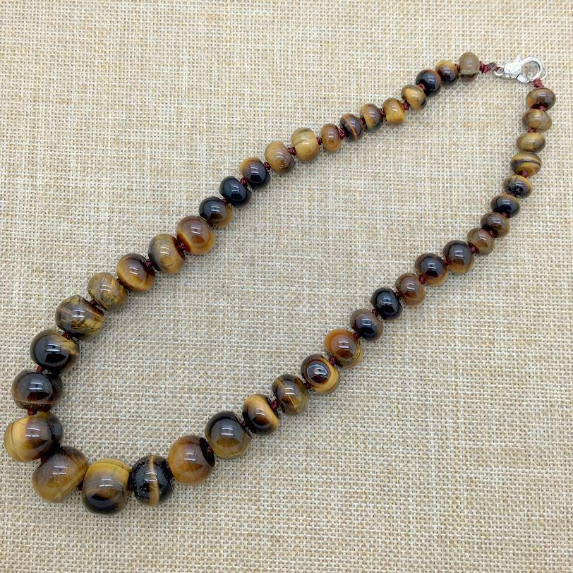 Collana con perline in pietra naturale con nodi classici Collana con occhio di tigre con pietre piccole e grandi perline Rondell Chiusura con nichel e senza piombo!