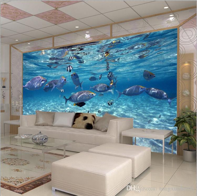 Personalizado Foto Papel De Parede 3D Estereoscópico Mundo Subaquático de Peixes Marinhos Quarto das crianças Quarto TV fundo 3D papel de parede Mural navio Livre