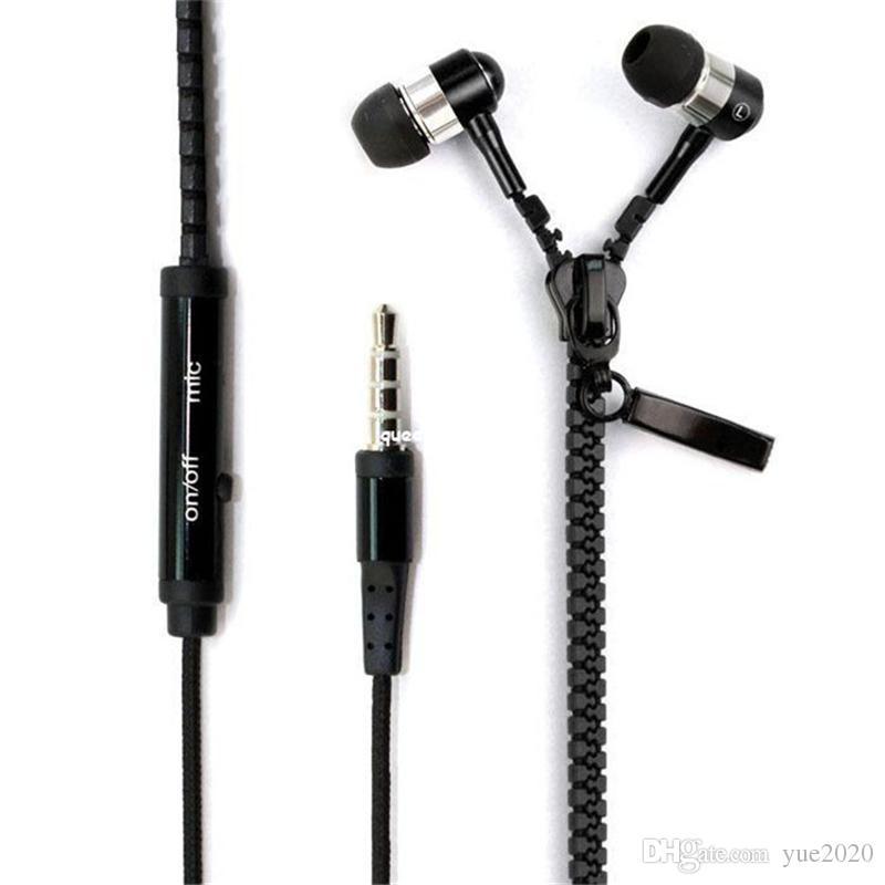 Zipper Kopfhörer-Kopfhörer-Kopfhörer 3.5MM Jack Bass Earbuds In-Ear-Zip-Kopfhörer mit MIC für Samsung S6 S7