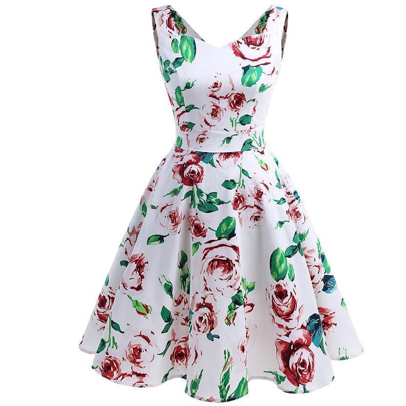 Spring Summer 2019 Fashion Women Dress Sleeveless Big Swing Print