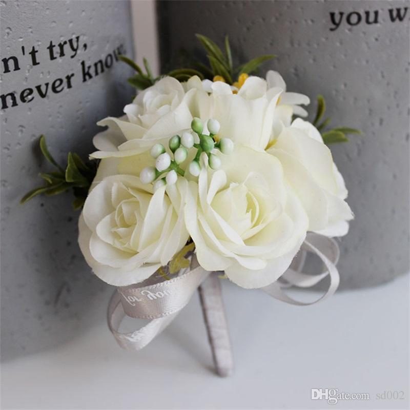 Faveur De Mariage Décor Corsage Fleur Main De Bal Artificielle Soie Rose Pin Fleurs Mariée Demoiselle D'honneur Décoration Bouquet Vente Chaude 6 8yy YY