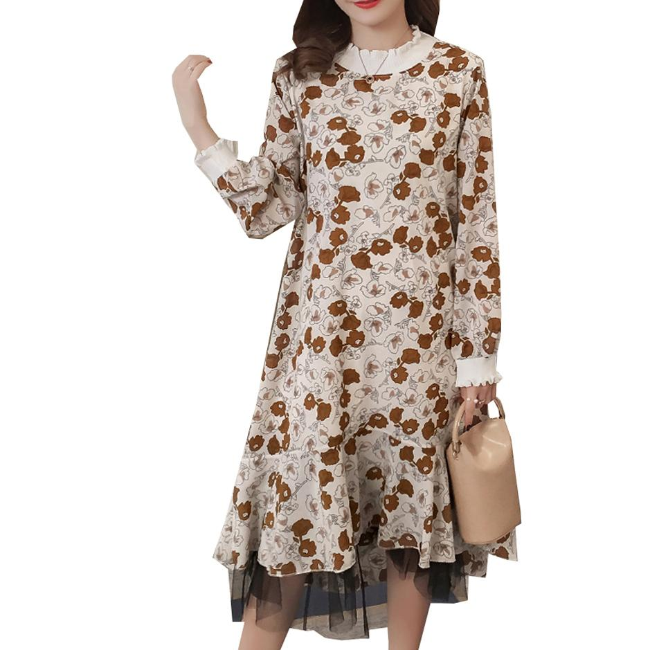 5aff71124901a 2019 Maternity Dress For Pregnant Women 2018 Autumn Lace Floral Mid Calf  Length Long Sleeve Elegant Ladies Vestidos Pregnancy Dress From Paradise02,  ...