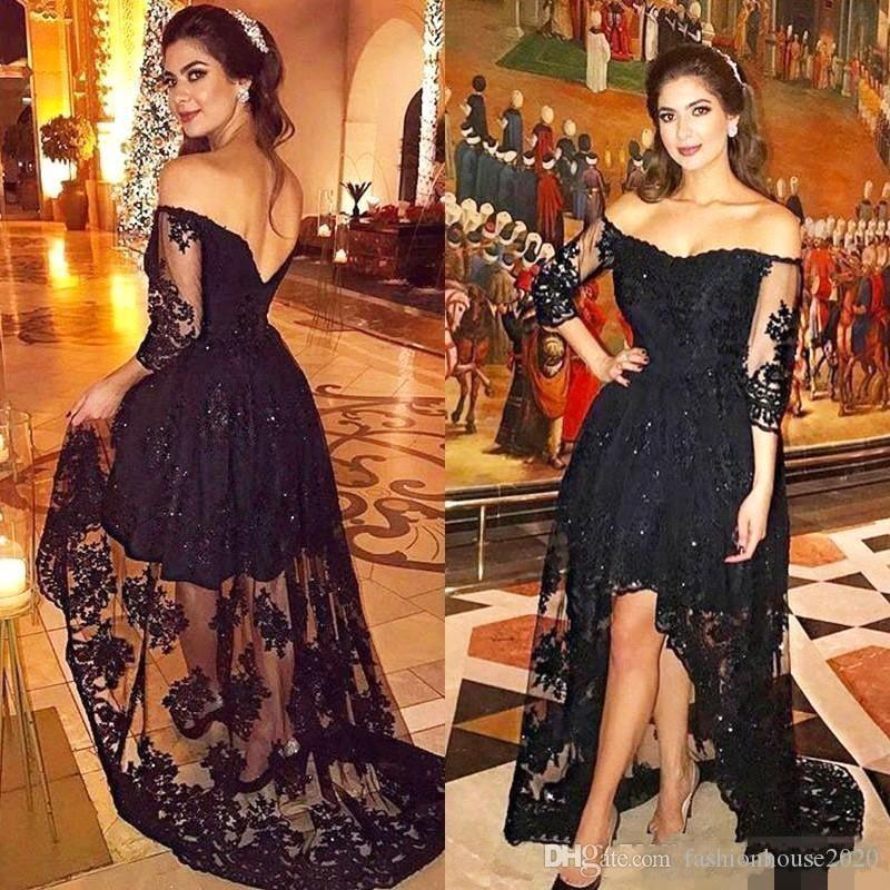 2e63bd1056bb 2018 Cheap Black Evening Dresses Off Shoulder Lace Appliques 3/4 Long  Sleeves Beads Short Mini High Low V Back Prom Party Gowns Fishtail Evening  Dress ...