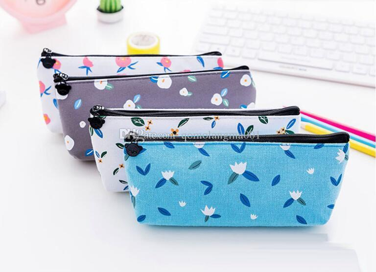 Exquisite student pen bag nice canvas pencil case cute print pencil bag