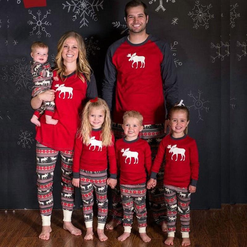 bcceffbc2f Set Dads PJ'S Long Sleeve Reindeer Mom Print Kids Christmas Family Pyjamas  Hot