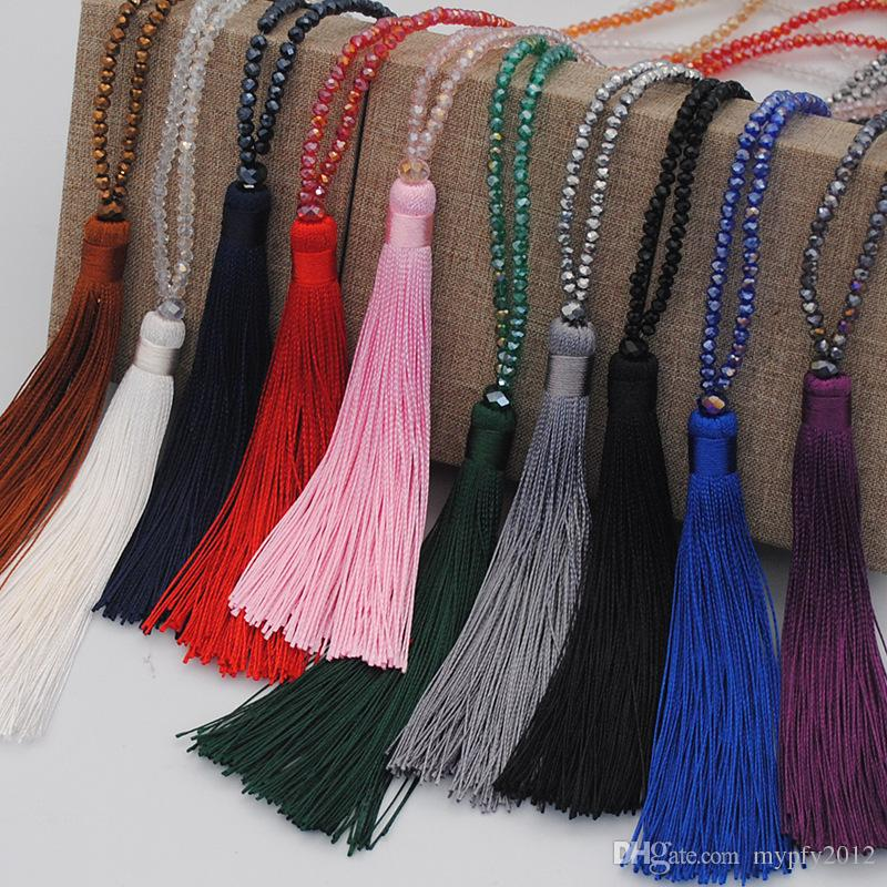 New Fashion Crystal Long Chain Necklace Tassel Necklace Boho Jewelry Chokers For Women Gifts Mix Colors MY