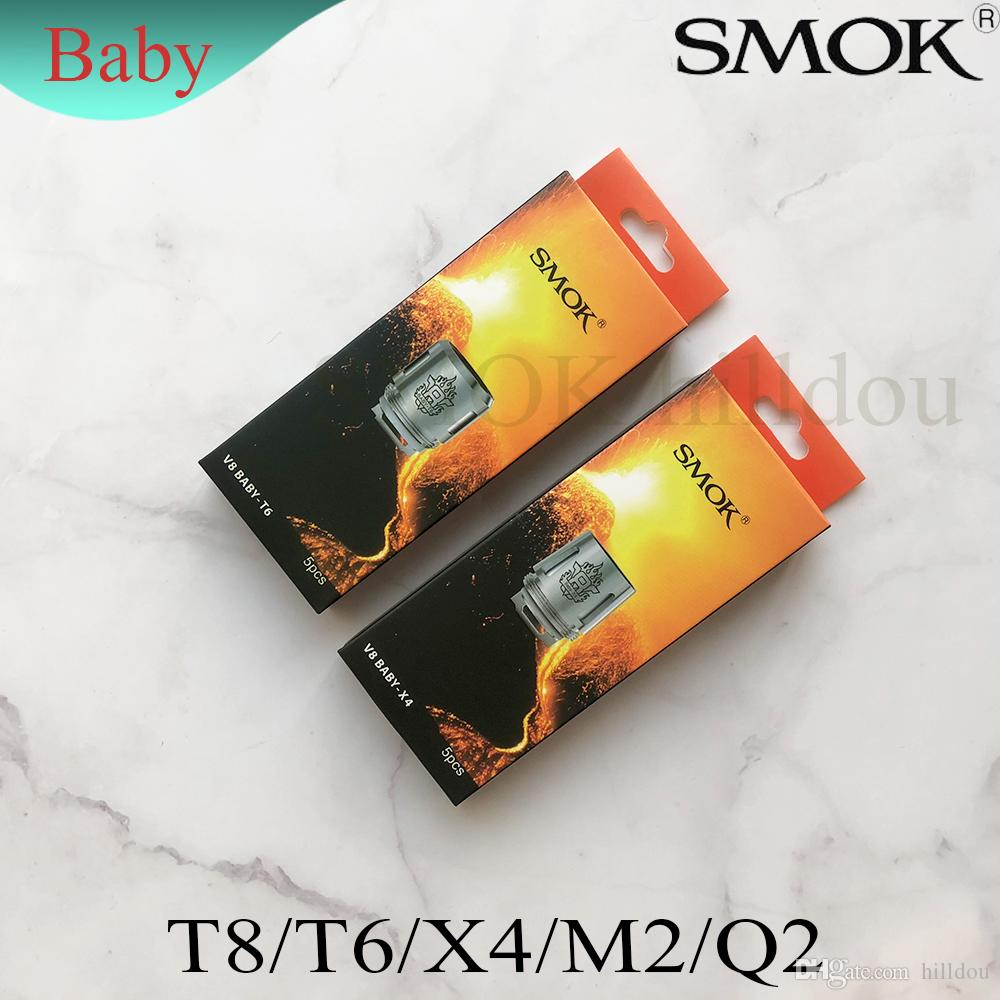 100%genuine SMOK TFV8 Baby Replacement Coils Head V8 Baby-Q2 Core 0.4ohm V8 Baby-T8 Core 0.15ohm V8 Baby-X4 Core Baby-M2