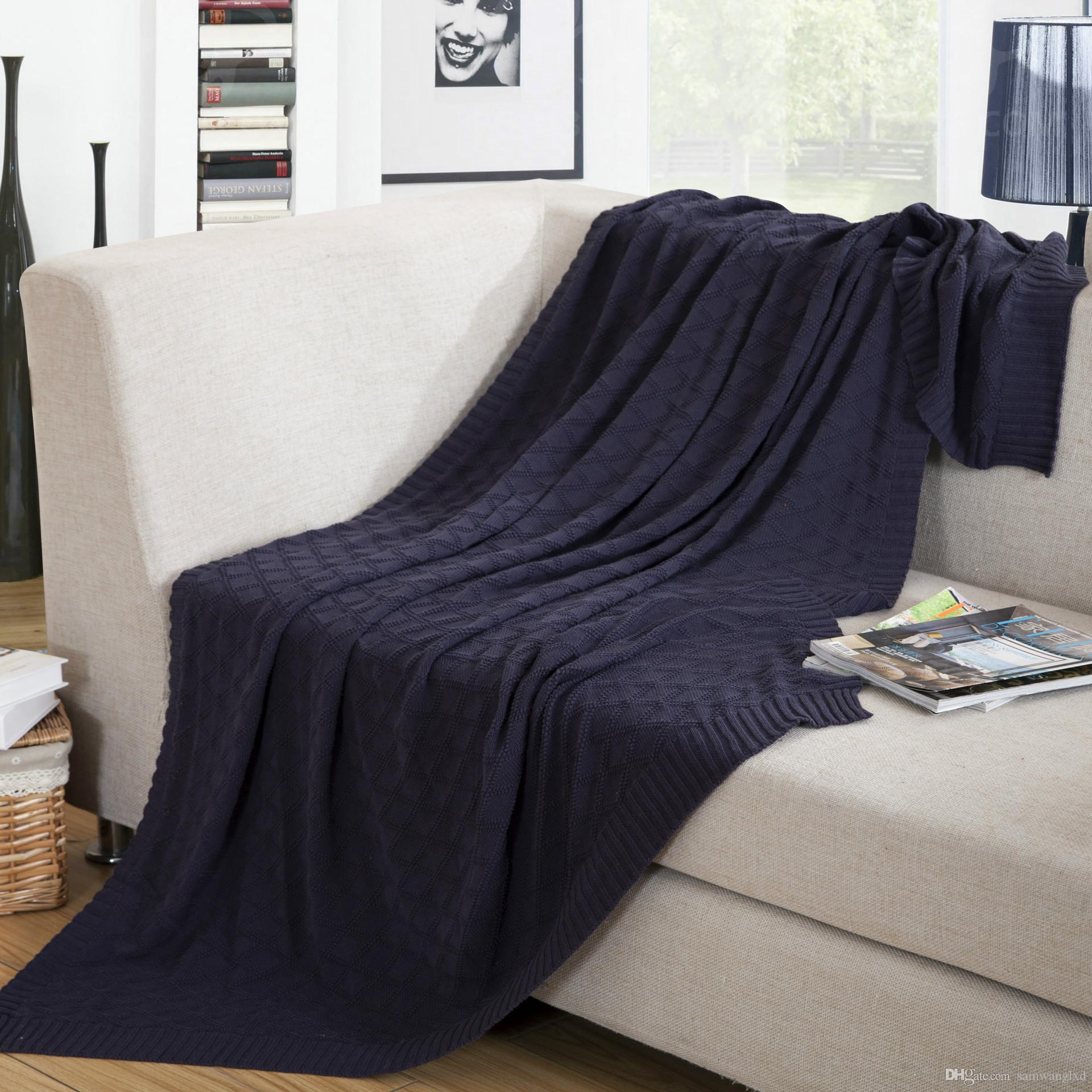Warm Soft Throw Blanket On Sofa Bed Cable Knitted Sofa Solid Bedspreads  Geometric Blanket Home Textile Summer Autumn 120*180cm 180*200cm Down Throw  Blankets ...
