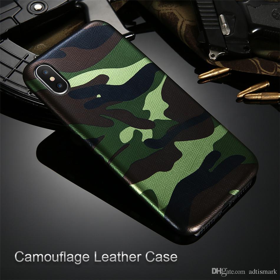 Großhandel Camouflage Telefon-Kasten für iPhone 7 7 Plus X Fall PU-Leder-Armee-Camo Shockproof rückseitige Abdeckung für iPhone 5 5s 6 6s 8 Plus